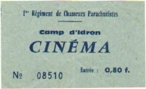 Ticket de cinéma du camp d'Idron Ticket-cinema